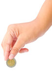 Thai bath coins in women hand. Royalty Free Stock Photography