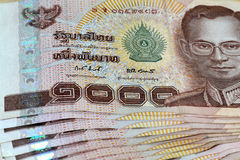 Thai bath currency banknote. Close - up Thai bath currency banknote Stock Photography