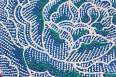 Thai Batik Sarong of Blue Flower pattern. Stock Photography