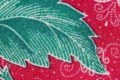 Thai Batik sarong of Green leaf pattern. Royalty Free Stock Photos