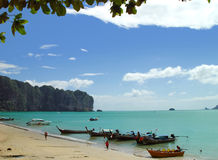 Thai beach. The beach of Ao Nang, near Krabi in southern Thailand Royalty Free Stock Image
