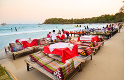 Thai beach, restaurant in Wong Duan bay, Koh Samet island, Thailand. Rayong, Koh Samet, Thailand - March 17, 2014 : The Wong Duan bay beach, Koh Samet Nation stock photography