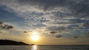 Thailand beach sunset on patong beach. Vivid dramatic clouds and sunset on patong beach thailand Royalty Free Stock Image