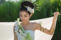 Thai beautiful girl. Portrait thai beautiful girl outdoor royalty free stock image