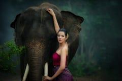 Thai beautiful women in traditional dress stock photos