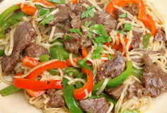 Thai Beef with Noodles Stir-Fry Royalty Free Stock Photography
