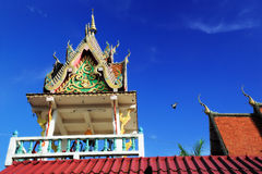 Thai Belfry and blue sky. Belfry at Thai temple. Most of Thai temple has Belfry Royalty Free Stock Photo
