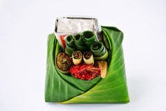 Thai belief. Offering,betel,cigarette,matches,banana leaf,chaplo, about for god to protect your house then they will offering this one Stock Photo