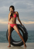 Thai Bikini Model With Tube Stock Photography