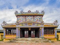 Thai Binh Lau pavilion, the Royal Library in the old citadel of Hue. The imperial forbidden purple city, Vietnam royalty free stock photos