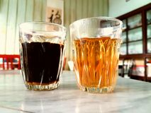 Thai black coffee and tea. In the morning Royalty Free Stock Images