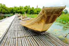 Thai boat , The ancient. Boat Thai wood ancient picture , in daytime Stock Photography