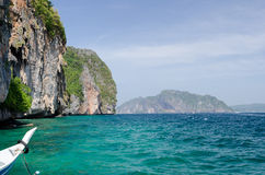 Phi phi iceland thai boat. Thai boat on the beautifull beach of Phi Phi iceland Stock Images