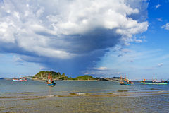 Thai boat with big cloud Royalty Free Stock Photo
