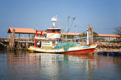 Thai Boat in Chumphon river Lang Suan Stock Images