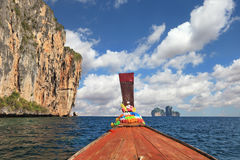 The Thai  boat floats to ocean island Stock Image
