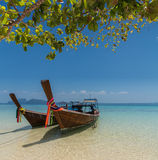 Thai boat longtail boat on the sea beach Stock Photo