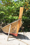 Thai boat is manufacture right on the beach Royalty Free Stock Photos