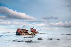 Thai boat. Old fisherman boat after rain royalty free stock image