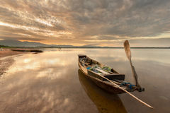 Thai boat. Old fisherman boat at sunrise stock images
