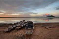 Thai boat. Old fisherman boat at sunrise stock photo