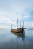 Thai boat. The Old fisherman boat was damage royalty free stock photo