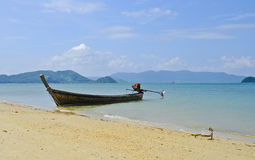 Thai boat in a turquoise sea Royalty Free Stock Photography