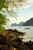 Thai boats. Teo thai motor boats in the islands Royalty Free Stock Photo