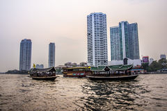 Thai boats on chao phraya Stock Photos