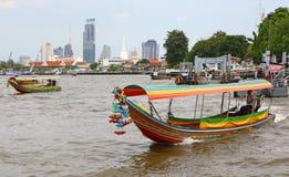Thai boats on Chao Phraya river in Bangkok, Thailand Royalty Free Stock Photos