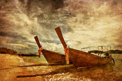 Thai boats in grunge Royalty Free Stock Image