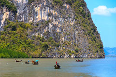 Thai boats in James Bond islands Ko Tapu Stock Photos