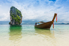 Thai boats and landmark at Po-da island, Krabi Province Royalty Free Stock Photos