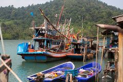 Thai boats for night fishing squid in the fishing village. Asia. Thai boats for night fishing squid in the fishing village Royalty Free Stock Image