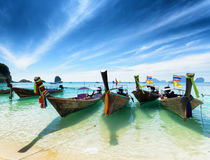 Thai boats on Phra Nang beach, Thailand Royalty Free Stock Images