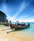 Thai boats on Phra Nang beach, Thailand Stock Images