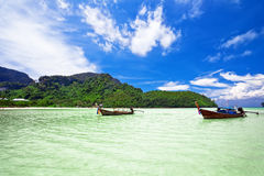 Thai boats in the sea Royalty Free Stock Photo
