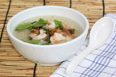 Thai boiled rice with shrimp Royalty Free Stock Photo