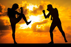 thai boxare royaltyfri illustrationer