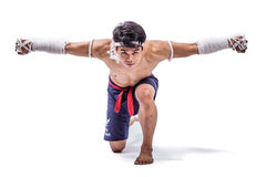 A thai boxer. With thai boxing action Royalty Free Stock Image