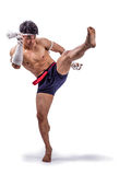 A thai boxer. With thai boxing action royalty free stock photo