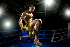Thai boxer on boxing ring, jump and kicking Stock Photo