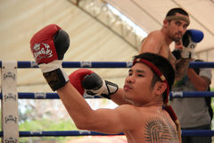 Thai Boxers were performing Wai Kru Royalty Free Stock Image