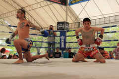 Thai Boxers were performing Wai Kru Royalty Free Stock Photo