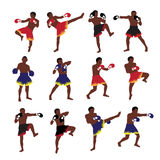 Thai boxing action set Royalty Free Stock Photo