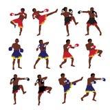 Thai boxing action set Royalty Free Stock Photo