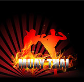 Thai Boxing with fighter on fire background. Thai Boxing with fighter on fire vector background Stock Photos