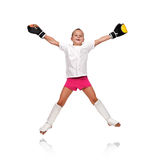 Thai boxing girl jump Royalty Free Stock Images