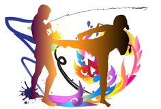 Thai boxing. Graphic Thai boxing. Martial arts, sports, top decorated with a line thai background with colors and paint brushes of different colors Royalty Free Stock Photo