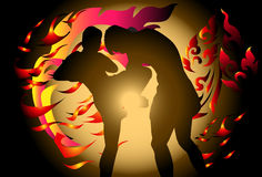 Thai boxing kick. Graphic Thai boxing. Martial arts, sports, top decorated with a line thai background with colors and paint brushes of different colors Royalty Free Stock Photo